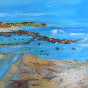 (CreativeWork) Rock Pools Somewhere by Sharon Robards. oil-painting. Shop online at Bluethumb.