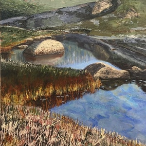 (CreativeWork) The Rock, Spencers Creek, Kosciuszko by fiona smith. arcylic-painting. Shop online at Bluethumb.