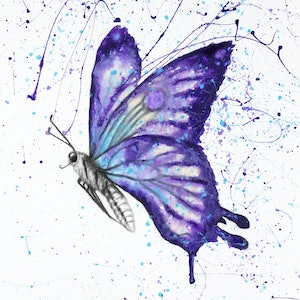 (CreativeWork) Lavender Butterfly by Ashvin Harrison. arcylic-painting. Shop online at Bluethumb.