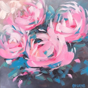 (CreativeWork) Bed Of Roses - Flowers Series by Jen Shewring. arcylic-painting. Shop online at Bluethumb.