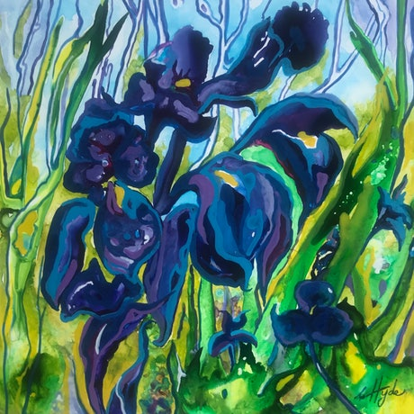 (CreativeWork) Joy of Iris by Christine Hyde. Acrylic Paint. Shop online at Bluethumb.