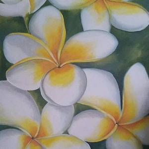 (CreativeWork) Frangipani Frolic by Simonne Moodie. arcylic-painting. Shop online at Bluethumb.