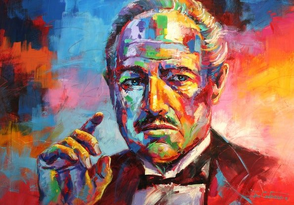 (CreativeWork) The Godfather by Jos Coufreur. Acrylic Paint. Shop online at Bluethumb.