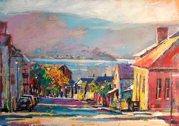 (CreativeWork) Battery Point, Hobart Tasmania by Jos Coufreur. Acrylic Paint. Shop online at Bluethumb.
