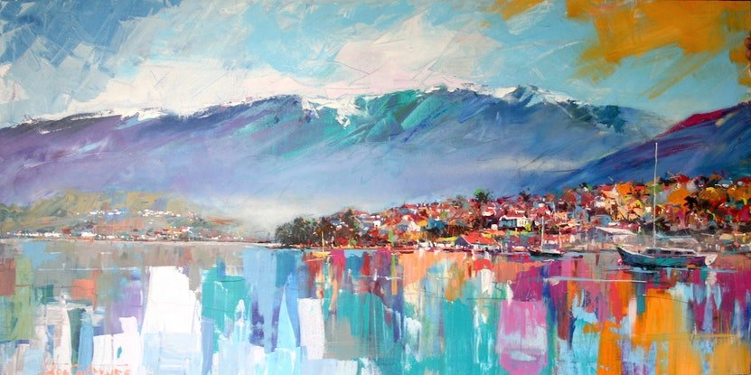 (CreativeWork) Hobart Tasmania by Jos Coufreur. Acrylic Paint. Shop online at Bluethumb.