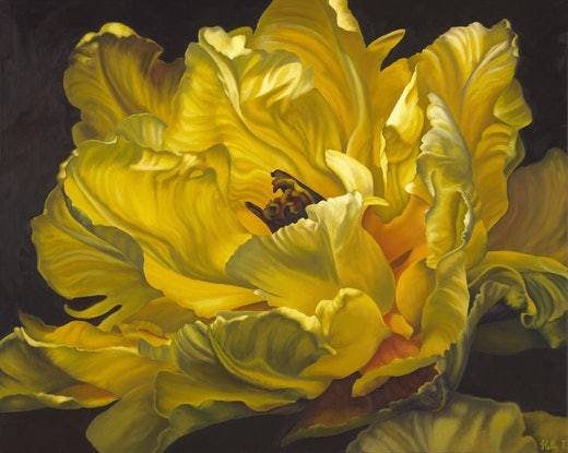 (CreativeWork) Shades of Gorgeous Yellow by Hetty Thompson. Oil Paint. Shop online at Bluethumb.