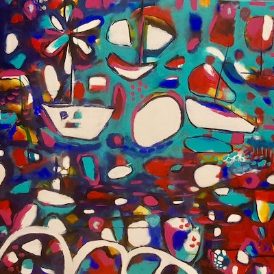 (CreativeWork) The Ocean of Color     Original  by Jojo Harvey. acrylic-painting. Shop online at Bluethumb.