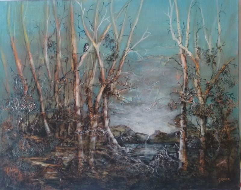 (CreativeWork) Scrubby Creek by Greer Roberts. Mixed Media. Shop online at Bluethumb.