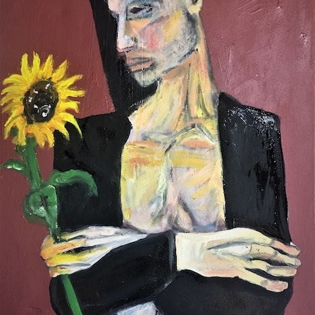 (CreativeWork) Man and Sunflower by Tobias Broughton. Mixed Media. Shop online at Bluethumb.