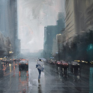 (CreativeWork) Crossing in the Rain by Mike Barr. arcylic-painting. Shop online at Bluethumb.