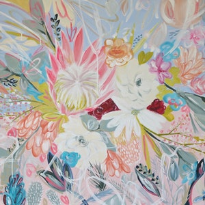 (CreativeWork) Spring Burst by Kate Kennedy. arcylic-painting. Shop online at Bluethumb.