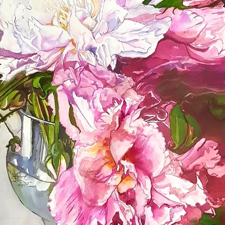 (CreativeWork) Peonies by Jeanette Giroud. Mixed Media. Shop online at Bluethumb.