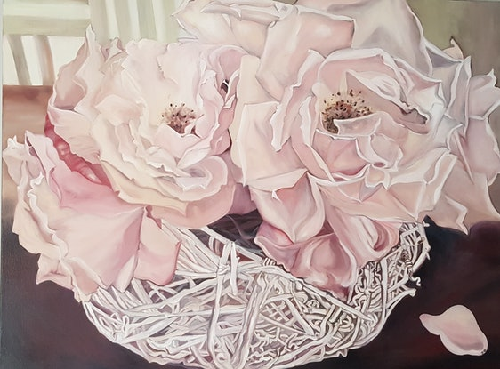 (CreativeWork) A Kiss From a Rose by Jeanette Giroud. Oil Paint. Shop online at Bluethumb.