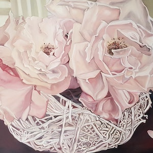 (CreativeWork) A Kiss From a Rose by Jeanette Giroud. oil-painting. Shop online at Bluethumb.