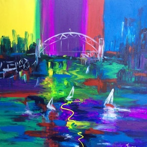 (CreativeWork) Vibrant Sydney by Terina Jones. arcylic-painting. Shop online at Bluethumb.