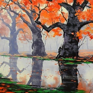 (CreativeWork) Misty Autumn trees by Graham Gercken. oil-painting. Shop online at Bluethumb.