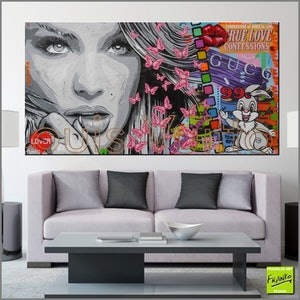 (CreativeWork) Queen Butterfly and Thumpa (bunny) # HUGE 190cm x 100cm     Acrylics, texture, gloss finish woman pop art urban by _Franko _. mixed-media. Shop online at Bluethumb.