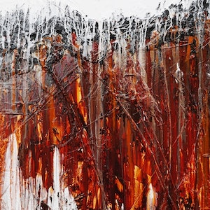 (CreativeWork) Rust and Lust  140cm x 100cm full texture gloss finish ochre clay fluid Australian abstract by _Franko _. arcylic-painting. Shop online at Bluethumb.