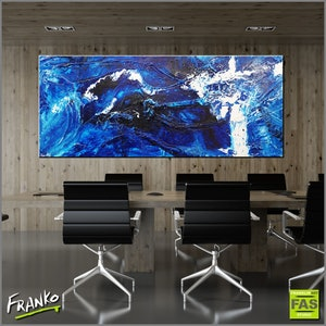 (CreativeWork) Blue Shuz 240cm x 100cm Huge  Blue white ocean navy abstract textured with gloss finish by _Franko _. arcylic-painting. Shop online at Bluethumb.
