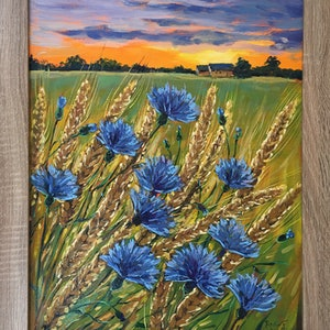 (CreativeWork) Landscape with Cornflowers – framed original oil painting by Irina Redine. oil-painting. Shop online at Bluethumb.
