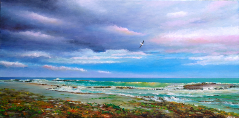 (CreativeWork) Sorrento Back Beach by Sergei Londar. oil-painting. Shop online at Bluethumb.