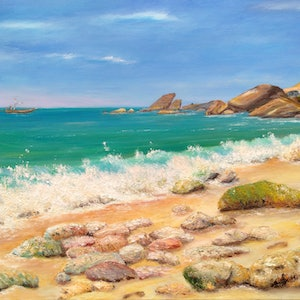 (CreativeWork) Southern Seas Stones by Sergei Londar. oil-painting. Shop online at Bluethumb.