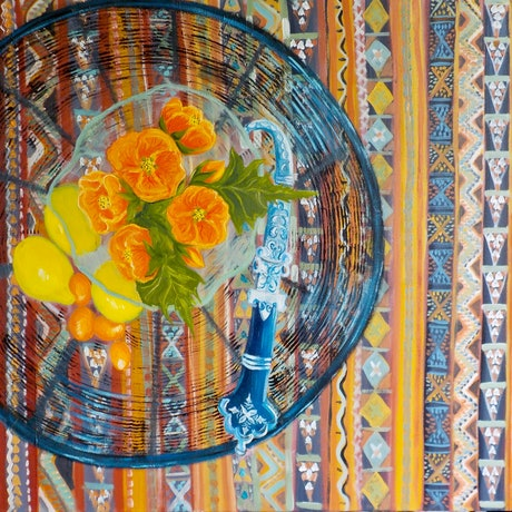 (CreativeWork) Dagger and Kilim rug. by Kerry Ann Harvey. Oil Paint. Shop online at Bluethumb.