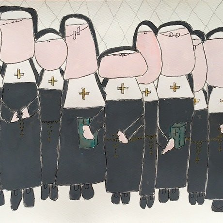 (CreativeWork) Fatter Nuns by Shelley Allen. Watercolour Paint. Shop online at Bluethumb.