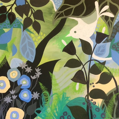 (CreativeWork) Garden Party 2 by Diane McDonald. Acrylic Paint. Shop online at Bluethumb.