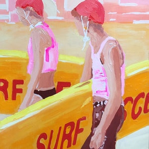 (CreativeWork) Surf Rescue by Gina Fishman. arcylic-painting. Shop online at Bluethumb.
