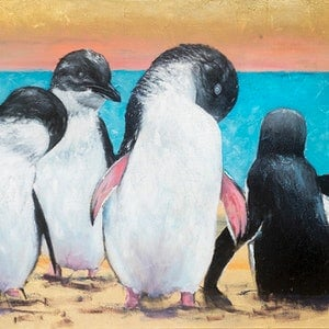 (CreativeWork) Penguin pals by Michelle Angelique. mixed-media. Shop online at Bluethumb.
