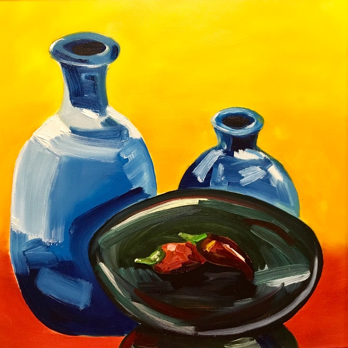 (CreativeWork) Hot Chilli by Meredith Howse. oil-painting. Shop online at Bluethumb.