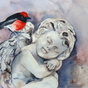 (CreativeWork) The Messenger by Lorraine Brown. watercolour. Shop online at Bluethumb.