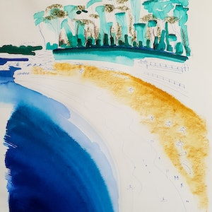 (CreativeWork) Mollymook 6/10 by Jennifer Baird. mixed-media. Shop online at Bluethumb.