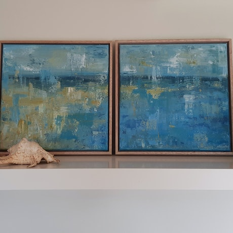 (CreativeWork) Aquamarine Dream Diptych by Naomi Veitch. Acrylic Paint. Shop online at Bluethumb.