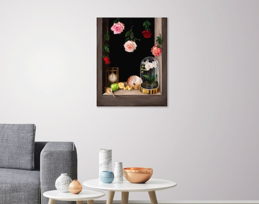 (CreativeWork)  Transient Beauty - Still life - Oil painting by Natasha Junmanee. Oil. Shop online at Bluethumb.