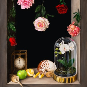 (CreativeWork)  Transient Beauty - Still life - Oil painting by Natasha Junmanee. Oil Paint. Shop online at Bluethumb.
