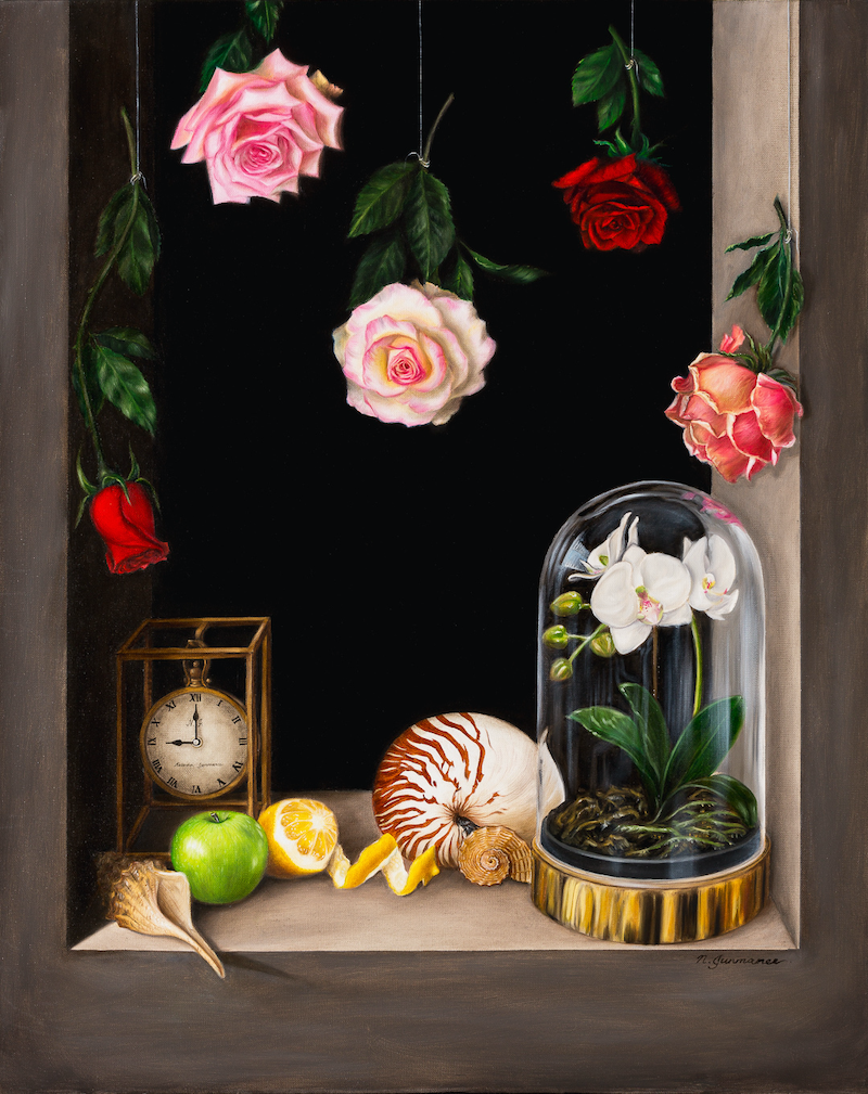 (CreativeWork)  Transient Beauty - Still life - Oil painting by Natasha Junmanee. oil-painting. Shop online at Bluethumb.
