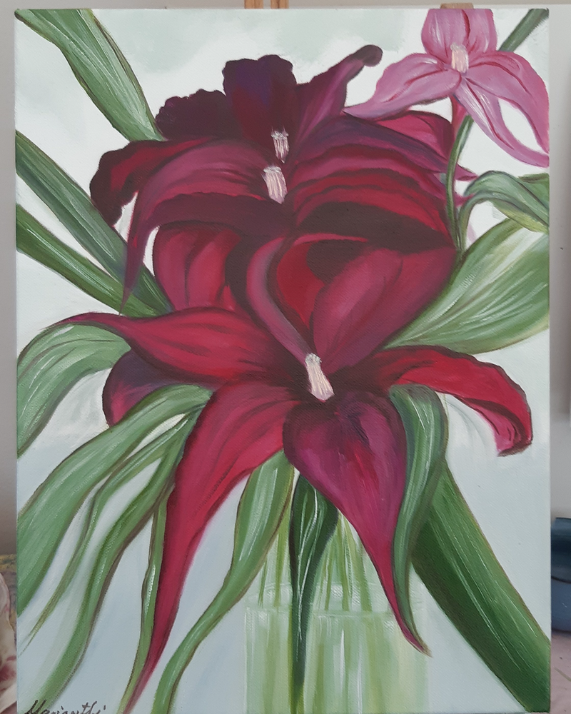 (CreativeWork) A gift  by Mari Anthi. oil-painting. Shop online at Bluethumb.
