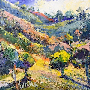 (CreativeWork) The rolling hills by Ivana Pinaffo. mixed-media. Shop online at Bluethumb.