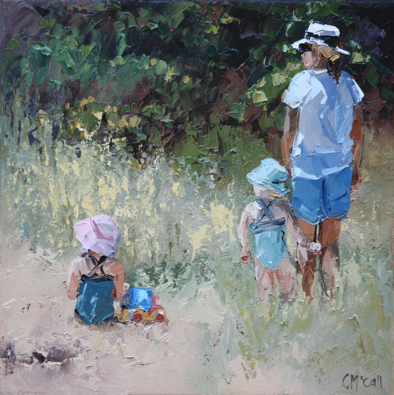 (CreativeWork) Beach Day Commission by Claire McCall. oil-painting. Shop online at Bluethumb.