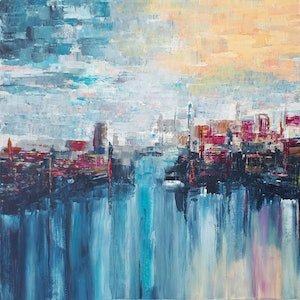(CreativeWork) 'URBAN GLOW' by Simone Melville. arcylic-painting. Shop online at Bluethumb.
