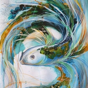 (CreativeWork) Blue Betta Fish (Painting on Paper) by Leni Kae. mixed-media. Shop online at Bluethumb.