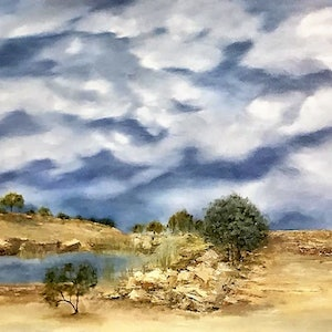 (CreativeWork) Rains comin' by Marlene Willson. oil-painting. Shop online at Bluethumb.