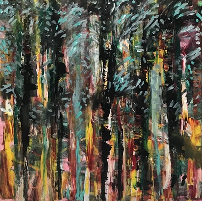 (CreativeWork) Tree Tapestry by Cameron Gillespie. Acrylic Paint. Shop online at Bluethumb.