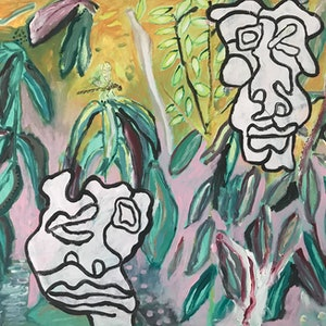 (CreativeWork) Garden Faces by Cameron Gillespie. arcylic-painting. Shop online at Bluethumb.