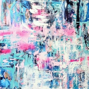 (CreativeWork) 'A Way with Turquoise' by LOU SHELDON. mixed-media. Shop online at Bluethumb.