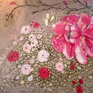 (CreativeWork) Life in Pink by Marlene Willson. arcylic-painting. Shop online at Bluethumb.