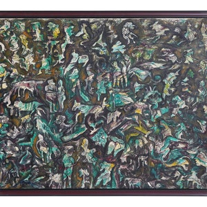 (CreativeWork)  Deep Forest State Award Panting-1975 by P. AUGUSTINE ANNADURAI. oil-painting. Shop online at Bluethumb.