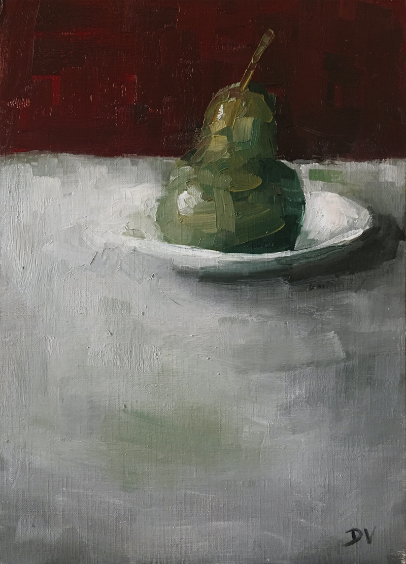 (CreativeWork) Pear with plate.  by Damien Venditti. oil-painting. Shop online at Bluethumb.